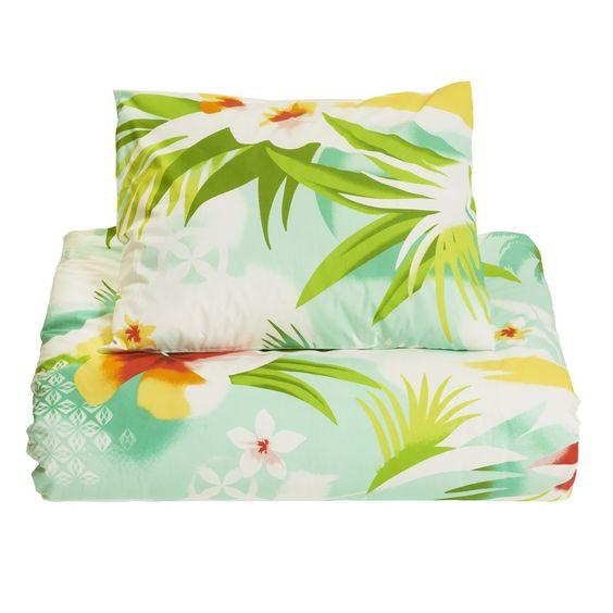dekbedovertrek dekbed beddengoed bloem hawaii bloemen zeegroen groen turkoois zee tropisch kleurrijk vrolijk