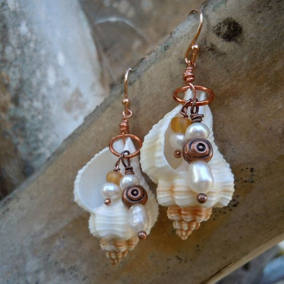 Ocean Whispers Seashell Earrings by TheEclecticOcean on Etsy