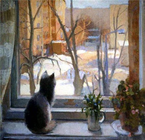 Painting of cat in the window. Natalia Chizhova