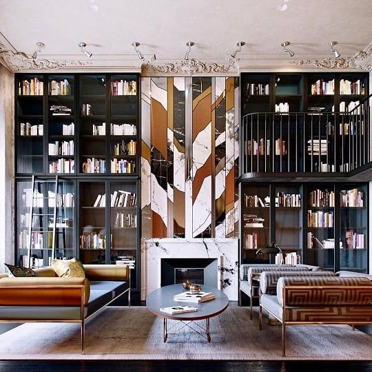 Courtney Schrank Design Studio On Instagram Russian Around This Fireplace Wall Is Everythi Living Room Loft Loft Apartment Decorating Small Loft Apartments