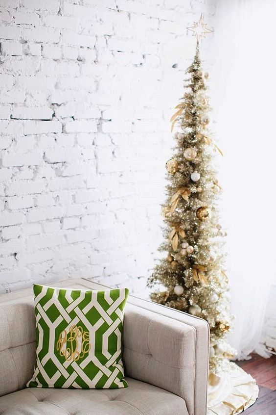 a dramatic slim christmas tree - Slim Christmas Tree Decorating Ideas