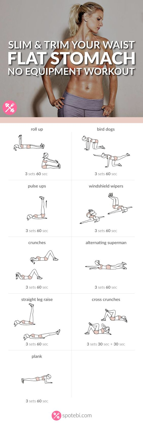 Want to easily whip your tummy into shape? Try this at home flat stomach workout for women, to sculpt your abs in no time, and get a slim, toned and trim belly. http://www.spotebi.com/workout-routines/flat-stomach-workout-slim-trim-waist/