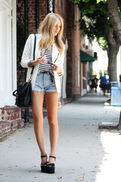 need this outfit!: Jean Shorts, White Blazers, Summer Outfit, Fashion Style, Summer Style, Spring Summer, Street Styles, Fashion Inspiration, Denim Shorts