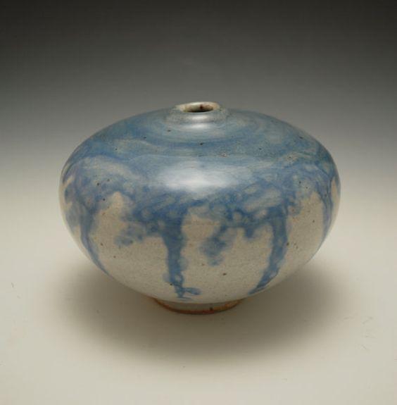 Small Ceramic Bud Vase with Blue Slip and Shino by JarenCeramics, $35.00