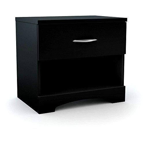 Minimal Nightstand In Black With Drawer And Open Storage Cabinet Wood Bedroom Bedside Table S Wood Storage Cabinets Simple Bedside Tables Bedroom Bedside Table