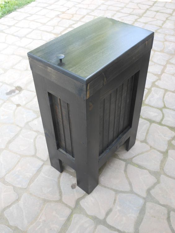 wooden trash bin kitchen garbage can wooden trash can
