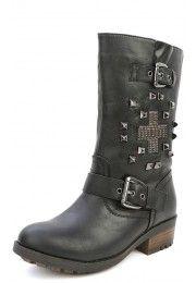 Bamboo Italo-06 Studded Cross Buckle Boots BLACK