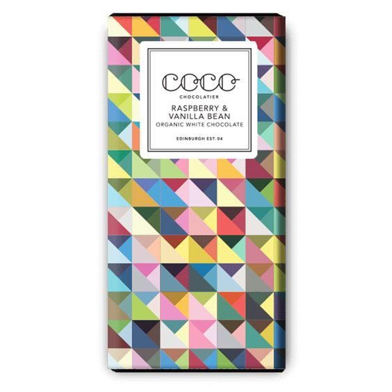 This Raspberry & Vanilla Bean flavoured chocolate bar from Coco Chocolate is lovingly made by high quality chocolatiers in Edinburgh, Scotland.: