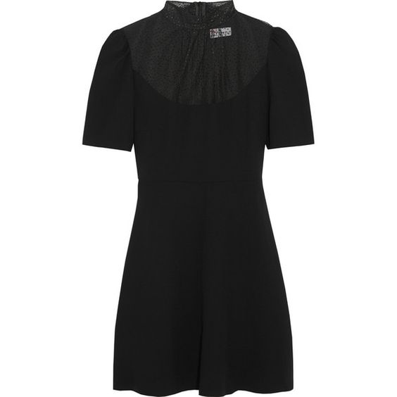 REDValentino Swiss-dot tulle-paneled crepe mini dress (£319) ❤ liked on Polyvore featuring dresses, clothes - dress, black, short tulle dress, swiss dot dress, crepe dress, tulle cocktail dress and mini dress