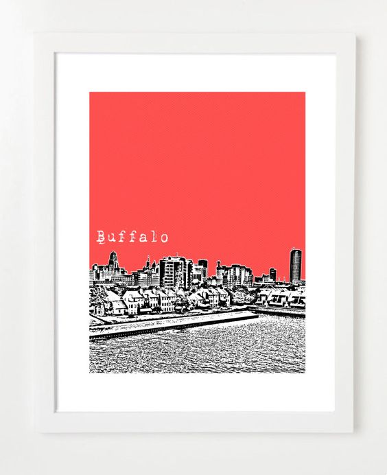 Buffalo Skyline Poster  New York State Skyline Art by birdAve, $20.00