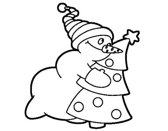 Muñeco De Nieve Dibujo: Dibujo De Muñeco De Nieve Abrazando árbol Para Colorear
