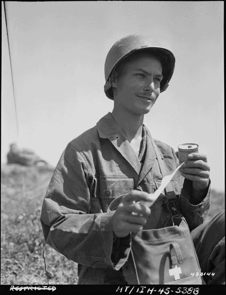 During World War II, Private First Class Desmond Doss was a conscientious objector who refused to carry or touch a weapon. He served as a medic and was awarded the Medal of Honor in 1945 for his heroic action assisting injured soldiers near Urasoe-Mura, Okinawa, Ryukyu Islands.    Photograph of Private First Class Desmond T. Doss, 05/15/1945