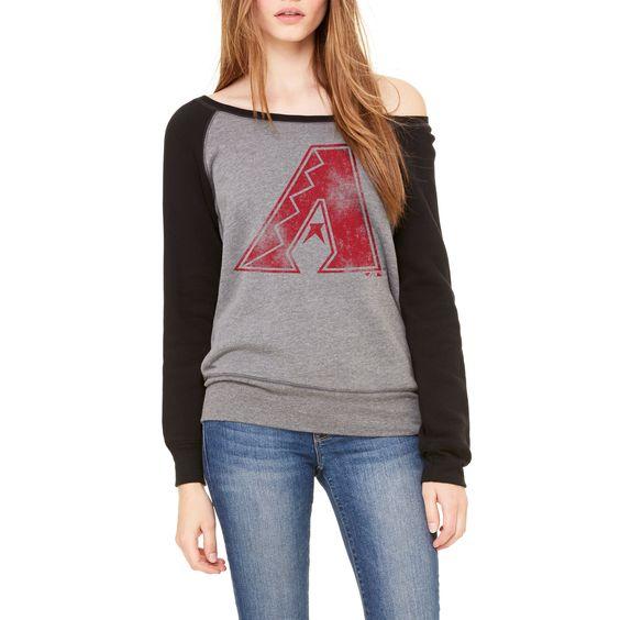 MLB Arizona Diamondbacks Let Loose by RNL Women's Game Day Wide Neck Sweatshirt - Deep Heather/Black