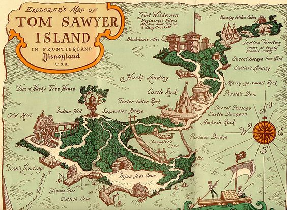 Disneyland Tom Sawyer Island Map 1965