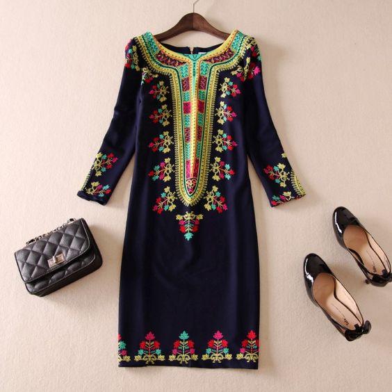 2014 women's spring fashion vintage print plus size three quarter sleeve slim one-piece dress free shipping US $31.99