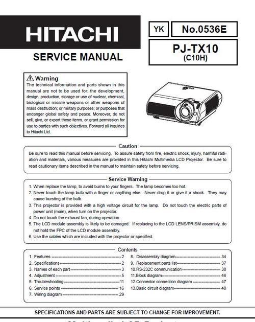 Hitachi CpX  W Projector Original Service Manual In Pdf Pdf