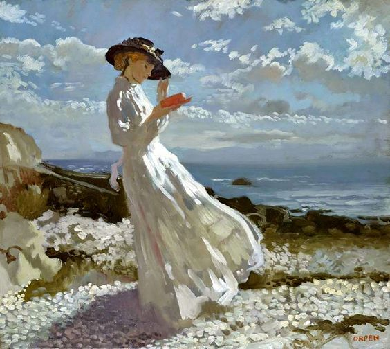 "Reading and Art: William Orpen, ""Grace Reading""  - I love the range of whites"