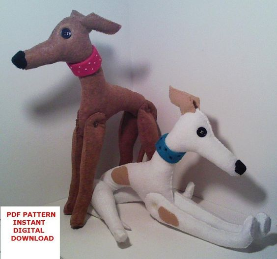 Greyhound Stuffed Animal Greyhound Dog in Felt Whippet by Amazing Greys D...