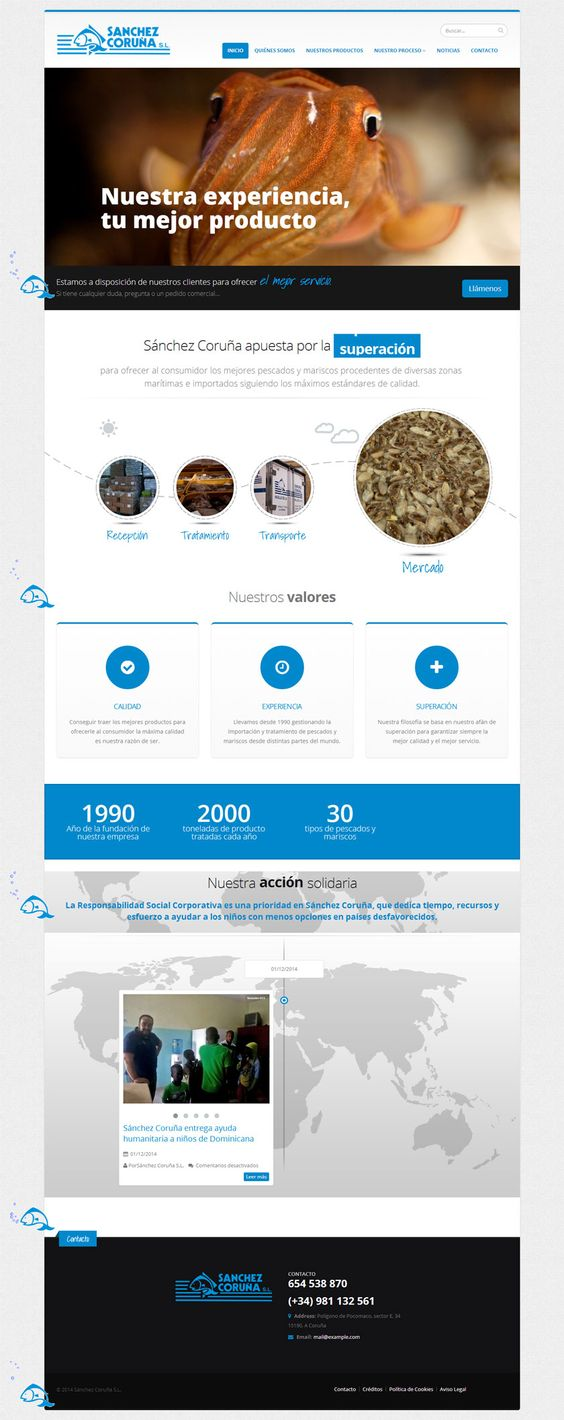 Nueva web desarrollada por Pasquino Comunicación. Página de la empresa de importación de pescado y marisco Sánchez Coruña. #wordpress