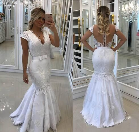 Luxury Lace Wedding Gowns Long Sleeve Sweetheart Detachable Train