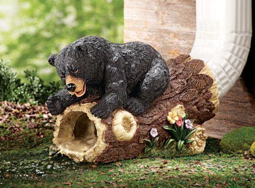 Northwoods Decor Black Bear Garden Gutter Downspout Sculpture Figurine ~New