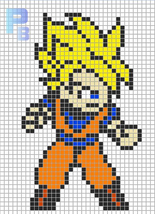 Goku Dbz Perler Pattern Patrones Beads Plantillas Para Hama
