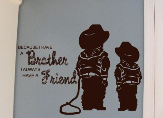 Wall sticker for Brothers. Cute rope letters and cowboys :D
