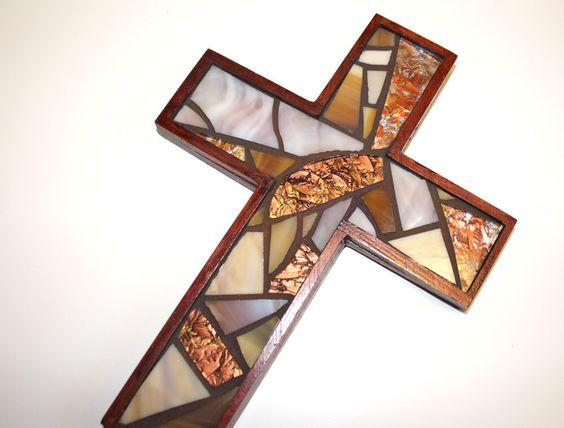 Handmade Wooden Cross, Brown Mosaic Cross by irmaKdesigns on Etsy https://www.etsy.com/listing/255711608/handmade-wooden-cross-brown-mosaic-cross