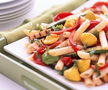 Grilled Chicken and Garden Vegetable Penne Pasta with Oven Roasted Tomatoes