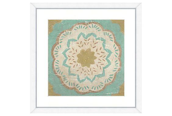 Hand-Embellished Teal Tile Print III on OneKingsLane.com