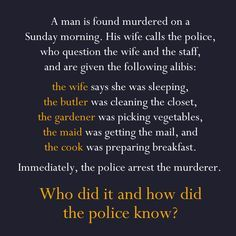 "The ""Whodunit"" riddle."