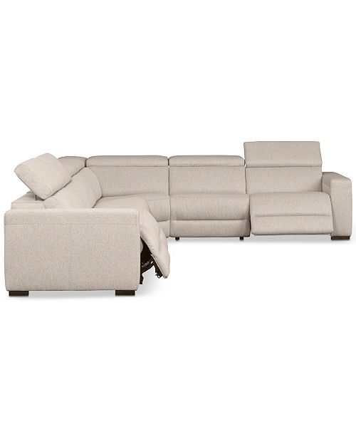 Furniture Nevio Leather Power Reclining Sectional Sofa With Articulating Headrests Collection Created For Macy S Reviews Furniture Macy S Power Reclining Sectional Sofa Sectional Sofa With Recliner Leather Sectional Living Room