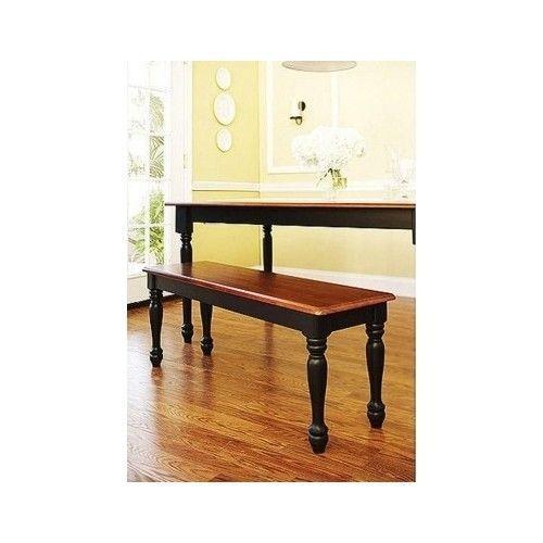 Kitchen Table Bench Dinette Black Oak Wooden Chair Dining Seat Farmhouse Home  #BetterHomesGarden