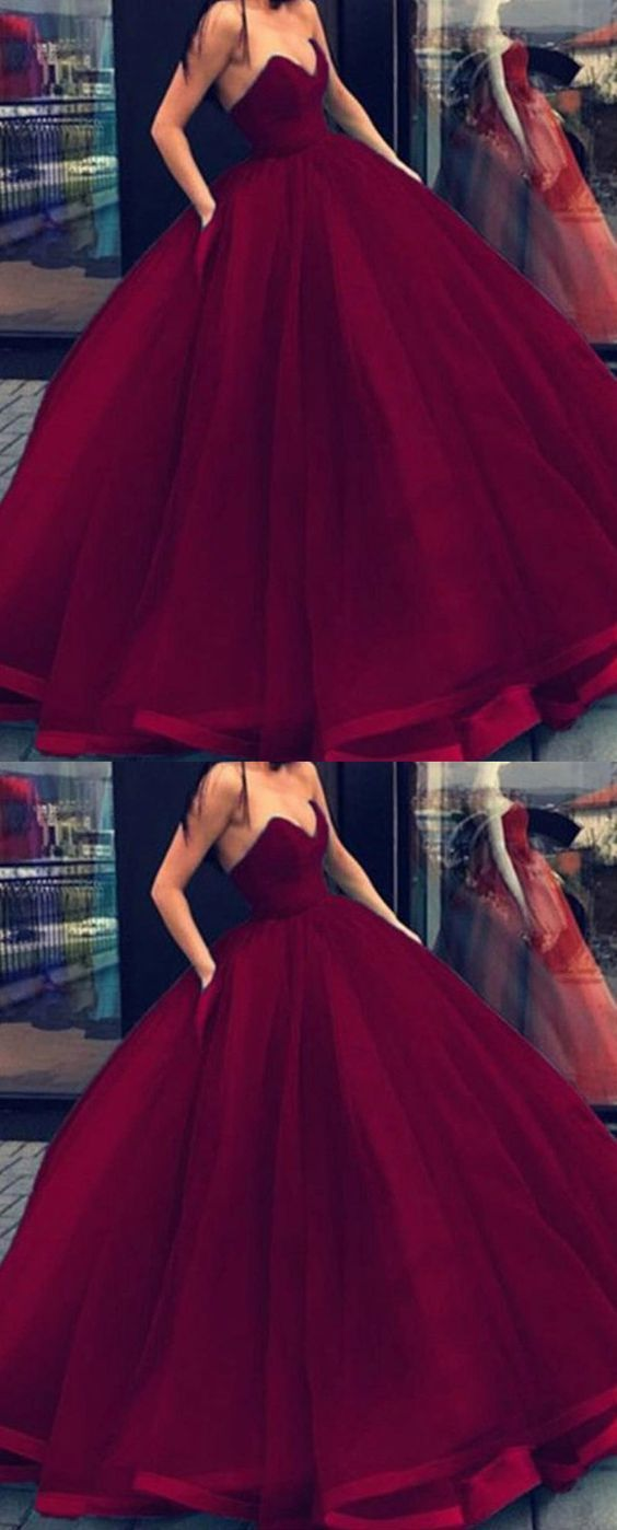 Burgundy Wine Red Princess Ball Gown Debutante Prom Dresses Strapless Strapless Prom Dresses Dresses Princess Ball Gowns [ 1398 x 564 Pixel ]