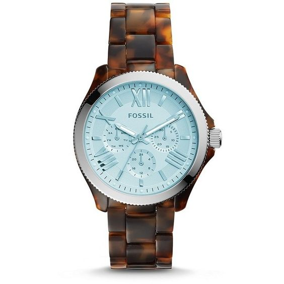 Fossil Cecile Multifunction Tortoise Acetate Watch ($135) ❤ liked on Polyvore featuring jewelry, watches, vintage wrist watch, fossil jewelry, vintage jewellery, polish jewelry and roman numeral watches