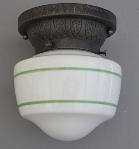 rare 1920s cast iron ceiling mount fixture milk glass light lamp art deco 20s art deco kitchen lighting
