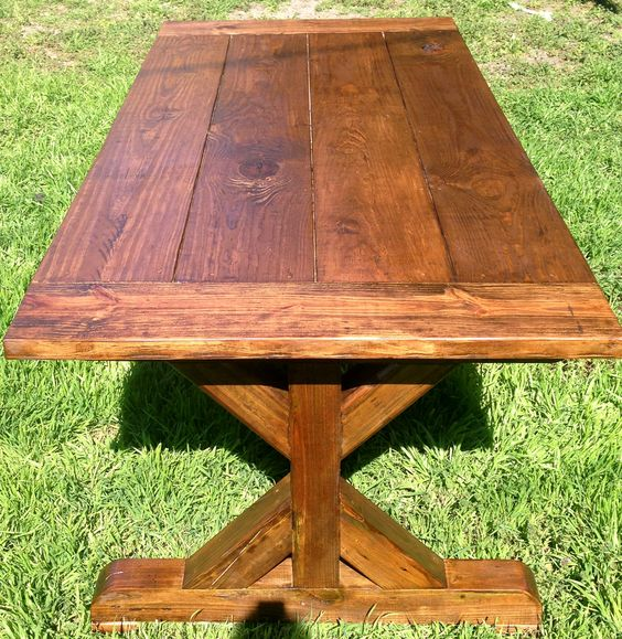 Trestle leg rustic dining table home accessories for Rustic trestle dining table