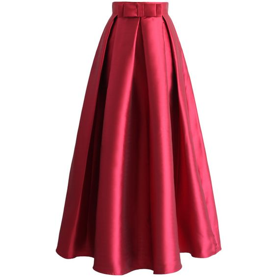 Chicwish Bowknot Pleated Full Maxi Skirt in Red (145 BRL) ❤ liked on Polyvore featuring skirts, saias, red, long pleated skirt, long maxi skirts, floor length skirts, long a line skirt and long skirts