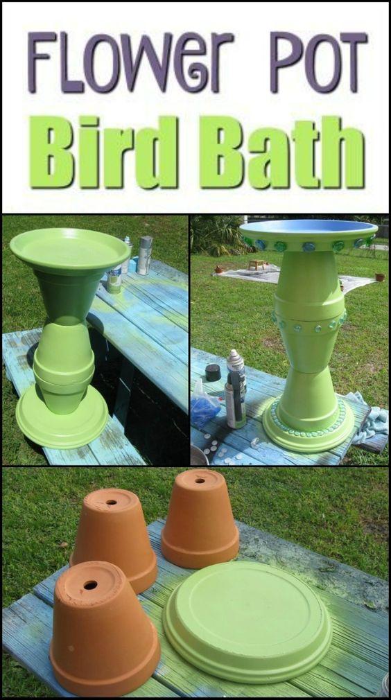 Turn Clay Flower Pots into a Brilliant Bird Bath