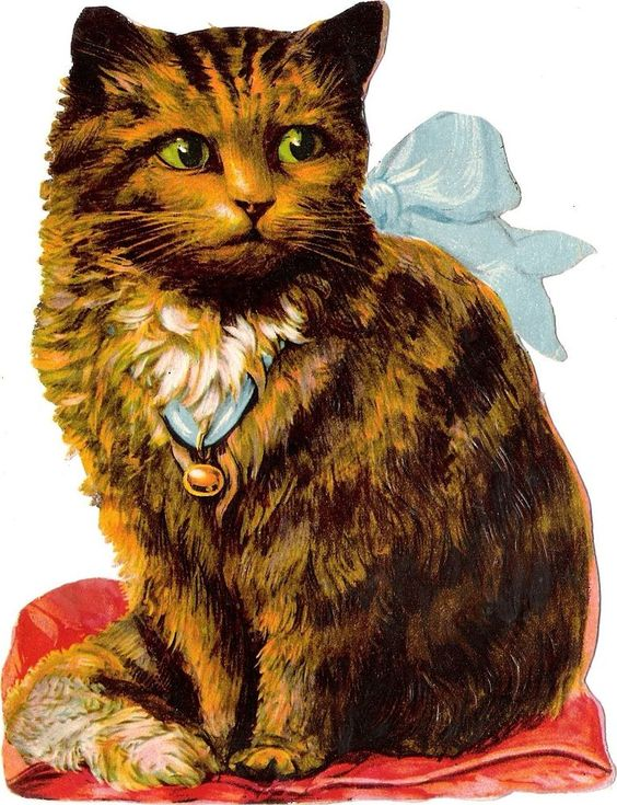 Oblaten Glanzbild scrap die cut chromo Katze  16,4cm tiger cat ginger ribbon: