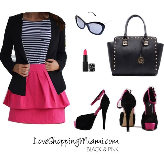 Black + Stripes + Pink outfit | black and pink outfit | hot pink skirt outfit | stripes | pink skirt | #outfit #ootd #loveshoppingmiami # black #pink #stripes