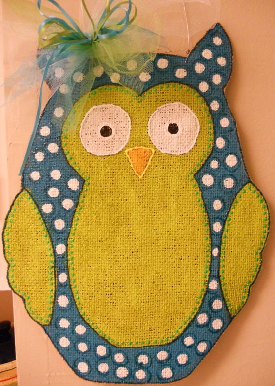 Polka Dot Burlap Hoot Owl Door Hanger by ashleyshinton on Etsy. $12.00, via Etsy.