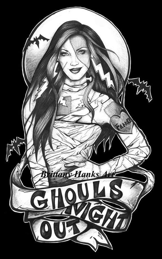 Bride of Frankenstein Pin Up Monster Halloween art print 5 by 7
