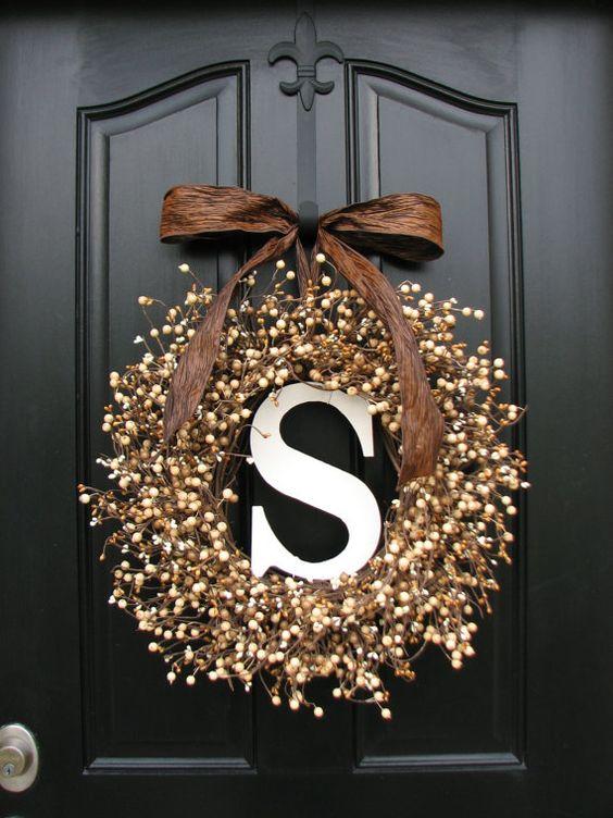 personalized wreaths - wedding wreaths - berry wreaths - front door