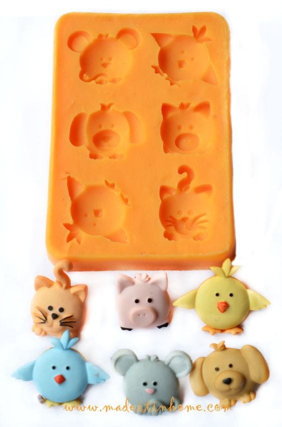 Silicone Mould BABY ANIMAL FACE  fimo mold dog,cat, mouse, soap on Etsy, $9.80