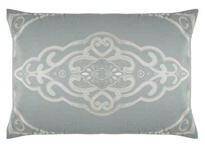 The PARISIENNE rectangular cushion cover, by Sue Wong for EnglishHome.com. Linen blend with taffeta applique and embroidered detail.