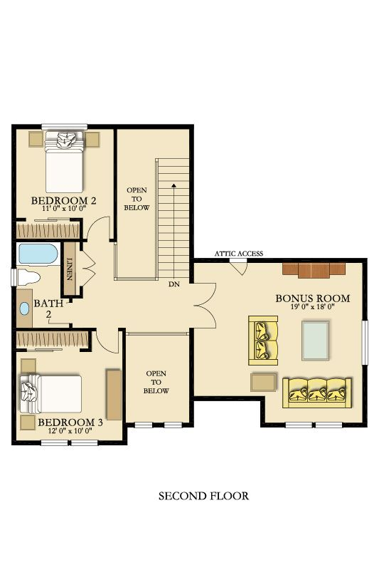 The Second Story Of The Mulberry Includes Two Bedrooms And A Great Room As Well As A Bathroom And Laundry Area Bonus Room New Home Construction New House Plans