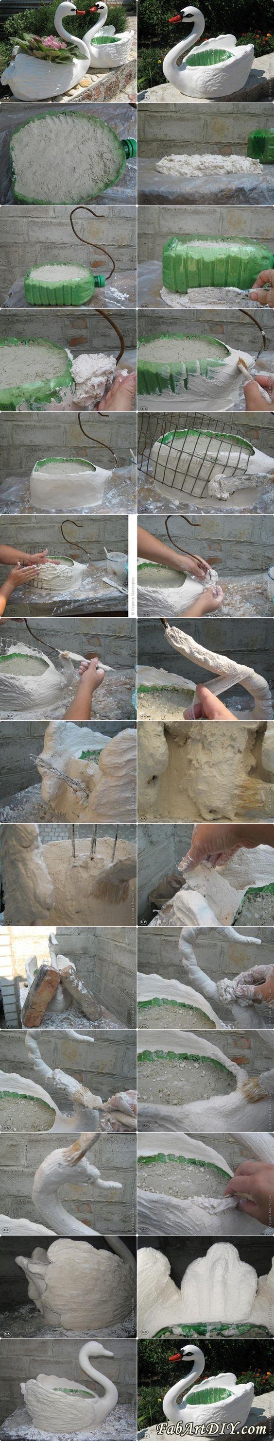 Diy swan pot planter from plastic bottles like us on facebook https - Plastic swan planter ...