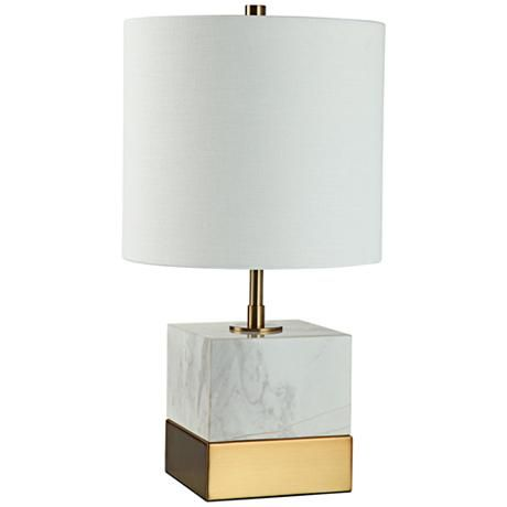 Brass Square Accent Table Lamp, Brass Square Base Table Lamp