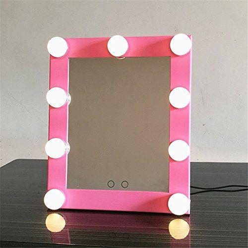 Gf Wood Tri Color Light Square Light Bulb Makeup Mirror Desktop